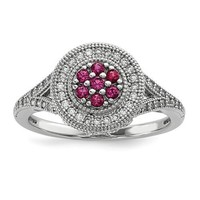 Sterling Silver White & Pink CZ Brilliant Embers Round Floral Halo Ring