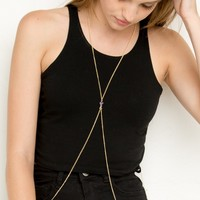 PURPLE STONE BODY CHAIN