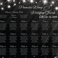 DIY Printable Wedding Seating Chart | PDF file | 18 x 24 Wedding Seating Chart - Winter New Years Heaven Sparkles Black - EMAIL Delivery