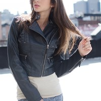 Born to Run Faux Leather Moto Jacket - Black from Glam at Lucky 21