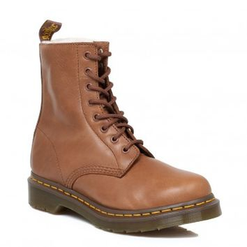 Dr. Martens 8 Eye Serena Tan Leather Shearling Lining Womens Lace up Ankle Boots