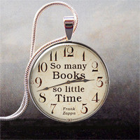 So Many Books, So Little Time pendant, Book lover necklace charm, Book jewelry, Book quote