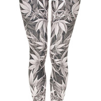 Gray Cannabis Leggings Design 601