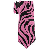 Pink Zebra Stripes All Over Neck Tie