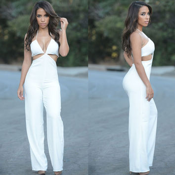 White Cut-Out Halter Jumpsuit