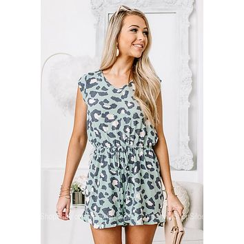 We're Mint To Be Leopard Printed Romper