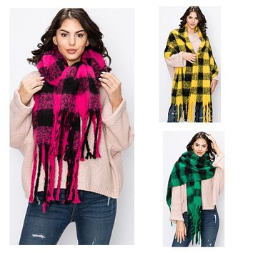 Crazy Soft Vibrant Long Plaid Scarves