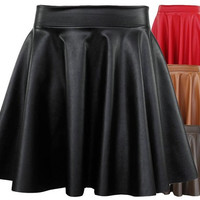 Women Black Red Faux Leather Mini Skirt High Waisted Flared Pleated Skater = 1946550788