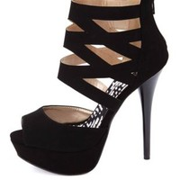 Qupid Caged Ankle Cuff Peep Toe Platform Heels - Black