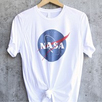 distracted - nasa logo unisex graphic tee - white/white
