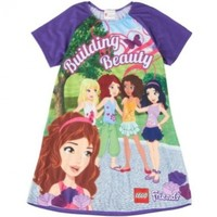 "LEGO Friends ""Building Beauty"" Purple Nightgown Pajamas 4/5-10/12"