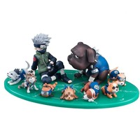 Naruto Sasauke ninja 9pcs/set  Anime  Sasuke with Ninja Dog Collection Action Figure Toys AT_81_8