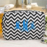 Embroidered Chevron Makeup Bag