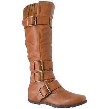 Generation Y Women's Knee High Boots Strappy Adjustable Buckle Combat  Tan Faux Leather