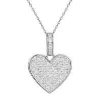 Sterling Silver CZ Filled Women's Love Heart Pendant Valentine's