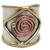 Ornate Mixed Metal Cuff Ring
