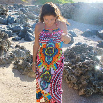 Sunlight & Sand Halter Maxi Dress - Last One!