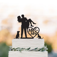 Wedding Cake topper with dog, Groom Holding Bride cake topper with mr and mrs cake topper with cat, rustic wedding cake topper