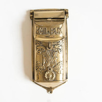 Antique Style Brass Mailbox, Vintage Wall Mount Letter Box with Victorian Look