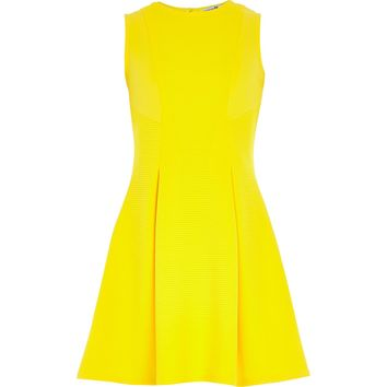 Girls yellow ribbed fit and flare dress