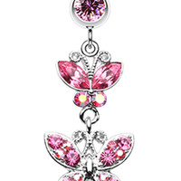 Jeweled Butterflies Belly Button Rings