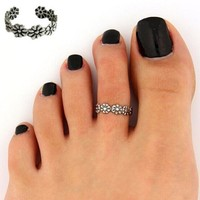 Women Lady Elegant Adjustable Antique Silver Metal Toe Ring Foot Beach Jewelry = 5987779457