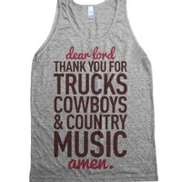 Dear Lord Thank You For Trucks Cowboys & Country Music-Tank Top L |