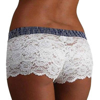 Sexy Women Lace Boyshort Panties Lingerie Hot Hollow Out Boxer Underwear Women Black White 2017 High Quality bragas mujer #23