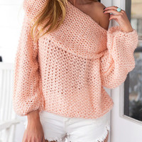 Pink Off Shoulder Chunky Long Sleeve Knitted Sweater