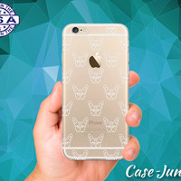 French Bulldog Dog Head White Pattern Puppy iPhone 5 iPhone 5C iPhone 6 iPhone 6 + iPhone 6s iPhone 6s Plus iPhone SE iPhone 7 Clear Case