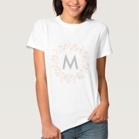 Pink and gray floral wreath moogramed and personal t-shirt