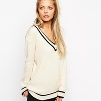ASOS Cricket Sweater With V-Neck And Tipping