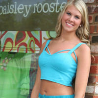 Turquoise Crop Top With Caged Detail