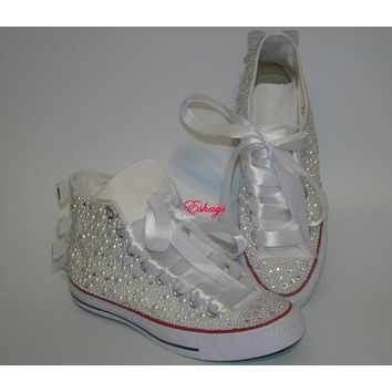 Converse Wedding Prom Sneakers with Pearls and Bows