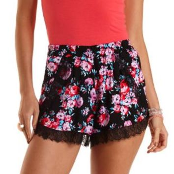 Black Combo Lace-Trimmed Floral Print Shorts by Charlotte Russe