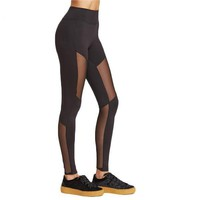 Stretchy Skinny Wide Waistband Mesh Insert Workout Leggings Yoga Tights