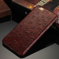 Maroon Skulls  Real Leather Phone Case For iPhone 7 7Plus 6 6s Plus 5 5s SE