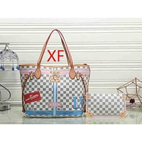 Louis Vuitton LV Fashion Leather Handbag Tote Shoulder Bag Satchel Set Two Piece
