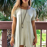 All Too Well Olive Solid Knit Dress