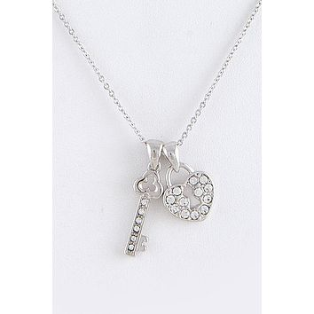 Classic Sterling Silver Key to your Heart Necklace Prom