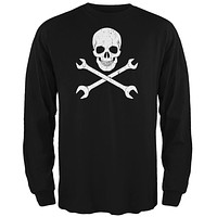 Automotive Skull And Wrenches Black Adult Long Sleeve T-Shirt