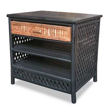"23'.5"" X 19"" X 23"" Black/Brown Bamboo End Table with a Drawer and  Shelves"