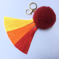 Yellow/Red Gradient Tassel Handbag Charm Fur Pom Pom ball keychain