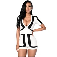 Cfanny 2016 New Rompers Womens Jumpsuit Classic Colorblock White Back Romper Shorts Bodycon Jumpsuit Summer Playsuit Overalls