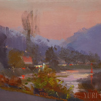 Light pink oil art - Small landscape painting - Mountain painting oil landscape art - Modern canvas art