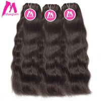 Maxglam Raw Indian Virgin Hair Straight Human Hair Weave Bundles Extension Natural 3Pcs Color Free Shipping