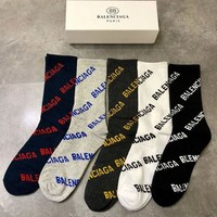 5PCS Balenciaga Fashion 5 pics of set Sock Style+Gift Box