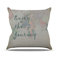 """Catherine Holcombe """"Journey"""" World Map Outdoor Throw Pillow"""