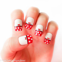 Red Minnie Mouse Dots and Bows Nails in Medium Length by niceclaws