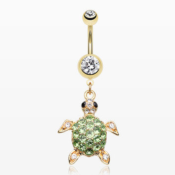 Golden Sea Turtle Belly Button Ring
